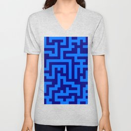 Brandeis Blue and Navy Blue Labyrinth Unisex V-Neck
