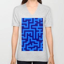 Brandeis Blue and Navy Blue Labyrinth Unisex V-Neck