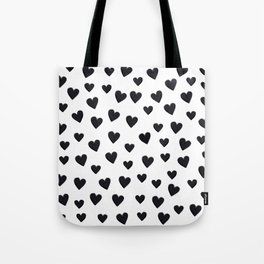 Hearts Love Black and White Pattern Tote Bag