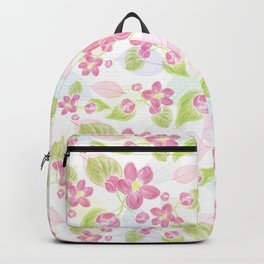 seamless  pattern with pink flowers and leaves. Backpack