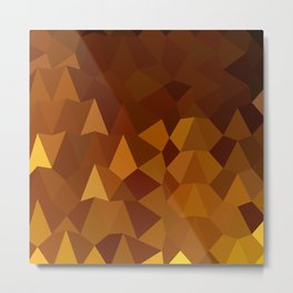 Burnt Umber Brown Abstract Low Polygon Background Metal Print