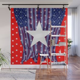 RED, WHIT , BLUE AMERICANA STARS Wall Mural