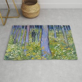 Vincent van Gogh Undergrowth with Two Figures Rug
