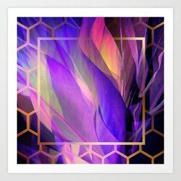 """Ultraviolet leaves and hexagonal golden grid"" Art Print"