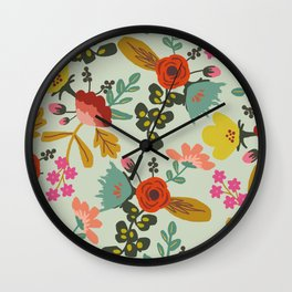 Muted Tone Floral Wall Clock
