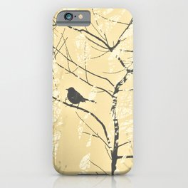 Mockingbird in Tree Soft Yellow Grey Silhouette iPhone Case