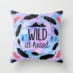 Wild at Heart - Boho Watercolor Feathers Throw Pillow