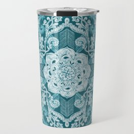 Centered Lace - Teal  Travel Mug