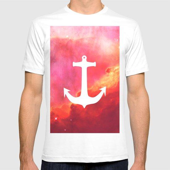 Galaxy Nebula Pink Retro White Nautical Anchor T-shirt