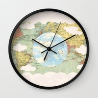 world maps Wall Clocks featuring Off The Maps by Grace M