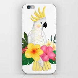Tropical Cockatoo Floral Watercolor iPhone Skin