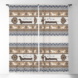 Boho dogs   Smooth dachshund tan Blackout Curtain