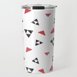 Hand painted watercolor black red geometrical triangles Travel Mug