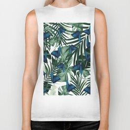 Tropical Butterfly Jungle Leaves Pattern #1 #tropical #decor #art #society6 Biker Tank
