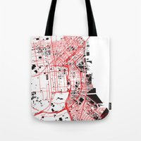 san francisco map Tote Bags featuring San Francisco Noise Map by ARTITECTURE