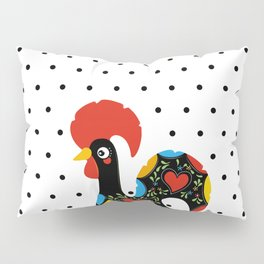 Famous Rooster Lucky Charm & Polka Dots Pillow Sham