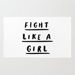 Fight Like a Girl black and white typography poster gift for her girlfriend home wall decor bedroom Rug