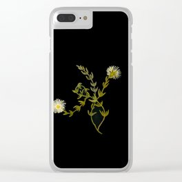 Mesembryanthemum Splendens Mary Delany Delicate Paper Flower Collage Black Background Floral Botanic Clear iPhone Case