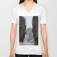 washington V-neck T-shirts featuring Washington & Guyasuta by Biff Rendar