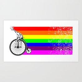 Giraffe riding a bike lgbq Art Print
