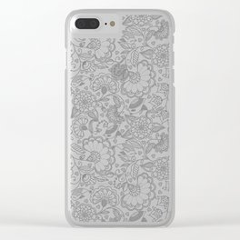 Fly EYES - Patterns GRAY - flowers, floral Clear iPhone Case