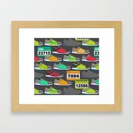 Running Shoes and Race Bibs Framed Art Print