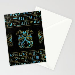 Egyptian Cats Gold and blue stained glass Stationery Cards