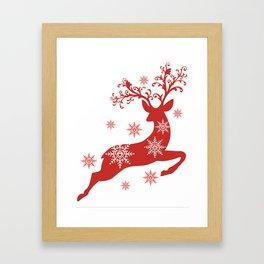 Vintage deers. Merry Christmas! Framed Art Print