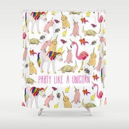 Party Like A Unicorn Shower Curtain