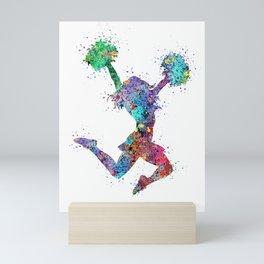 Cheerleader Art Girl Cheerleader Gifts Watercolor Print Sports Art Mini Art Print