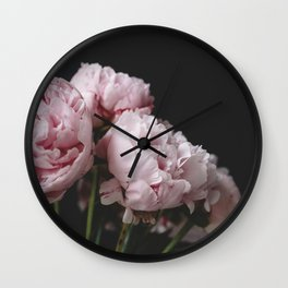 Peonies on black Wall Clock