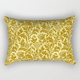 William Morris Thistle Damask in Mustard Gold Rectangular Pillow