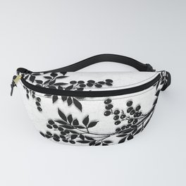 Black and White Leaf Toile Fanny Pack