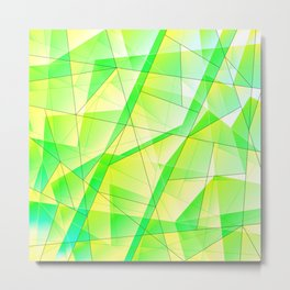 Bright bright fragments of crystals on irregularly shaped green and yellow triangles. Metal Print
