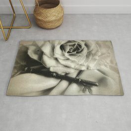 Faded Rose and Old Key Vintage Style Modern Country Cottage A440 Rug