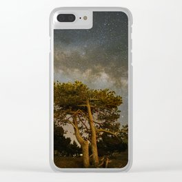 Milky way over the mountains trees. Sierra Nevada National park Clear iPhone Case