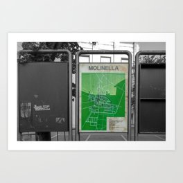 Green Map of Molinella Black and White Street Photography  Art Print