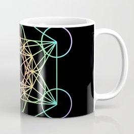 Metatron's Cube- Rainbow on Black Coffee Mug