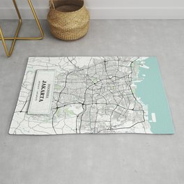 Jakarta Indonesia City Map with GPS Coordinates Rug