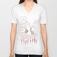 rabbits V-neck T-shirts featuring Rabbits by Fay's Studio