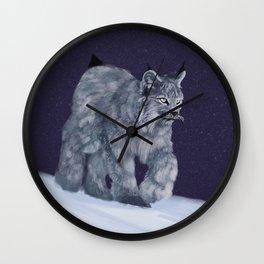 Lynx in a snowstorm Wall Clock