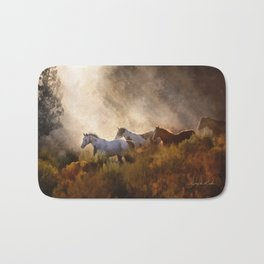 Horses in a Golden Meadow by Georgia M Baker Bath Mat