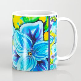 Blue Poppies 3 with Border Coffee Mug