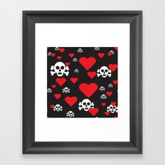 Skulls and Hearts Framed Art Print
