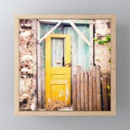 Yellow Door in Crete Framed Mini Art Print