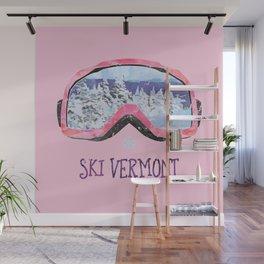 Ski Vermont Ski Goggles — Pink Wall Mural