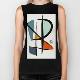 Abstract Minimal Lyrical Expressionism Art Blue Orange Biker Tank
