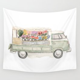 Flower Truck Watercolor Print Mint Wall Tapestry
