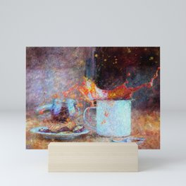Coffee Splash Impressionist Painting Mini Art Print