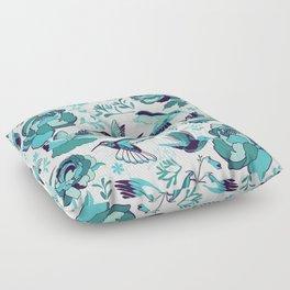 Hummingbird summerdance, Blue Floor Pillow